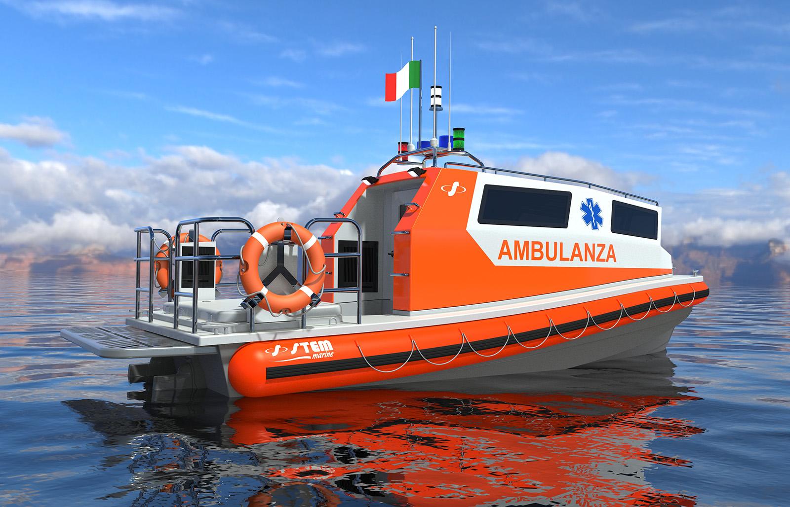 Battello idroambulanza cabinato 750 Ambulance