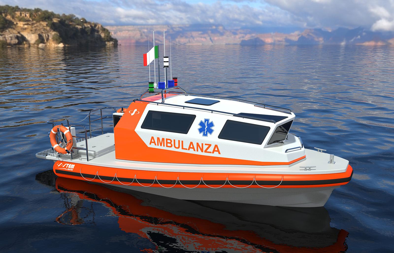 bateau avec cabine pour le secours stem 750 ambulance stem marine. Black Bedroom Furniture Sets. Home Design Ideas
