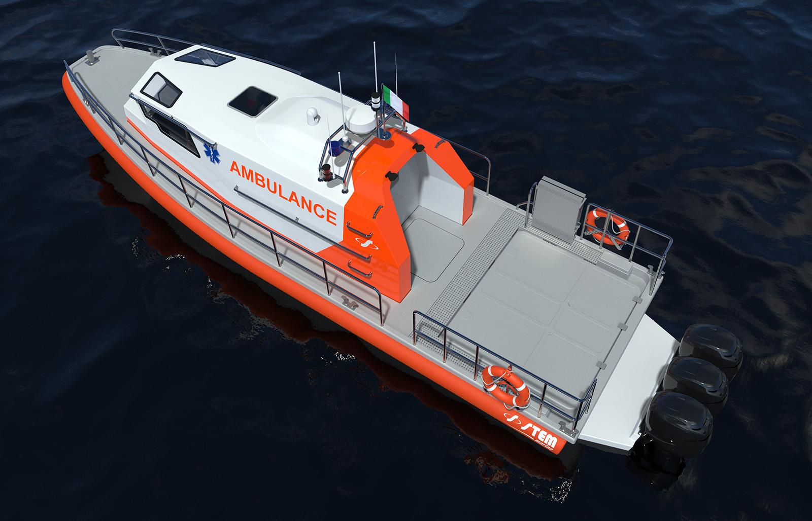 Battello cabinato uso ambulanza Stem 12 Ambulance